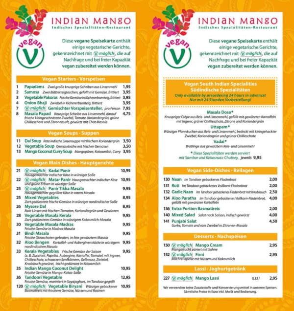 Indian Mango Vegane Speisekarte