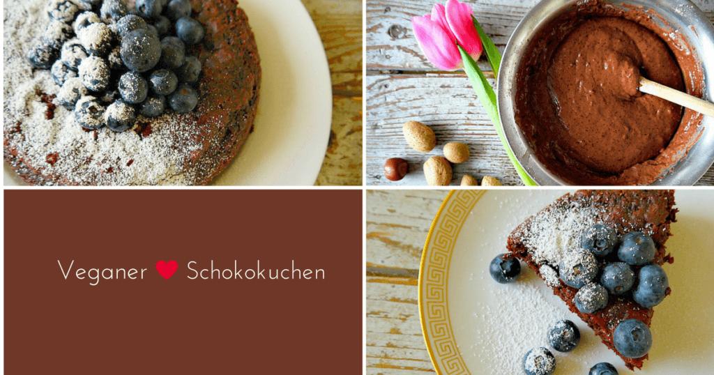 Veganer Schokokuchen mit Blaubeeren - Der perfekte Valentinstag Kuchen