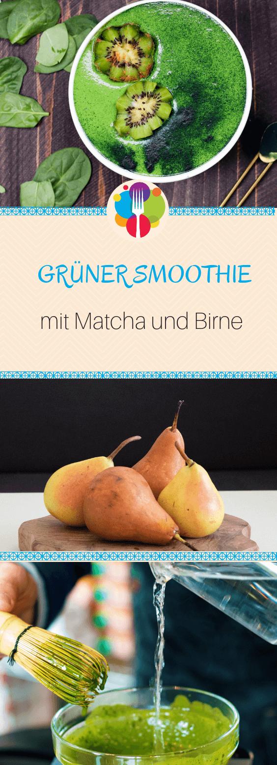 gruen smoothie mit Matcha und Birne
